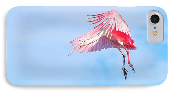 Roseate Spoonbill Final Approach IPhone Case by Mark Andrew Thomas