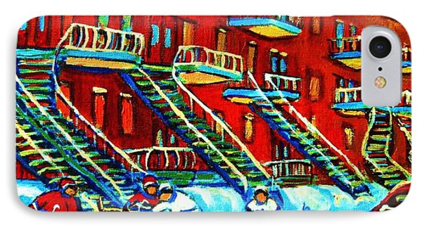 Rowhouses And Hockey IPhone Case by Carole Spandau