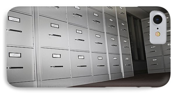 Rows Of Filing Cabinets IPhone Case by Jetta Productions, Inc
