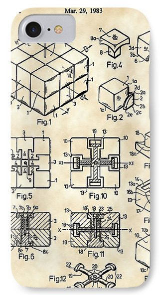 Rubik's Cube Patent 1983 - Vintage IPhone Case by Stephen Younts