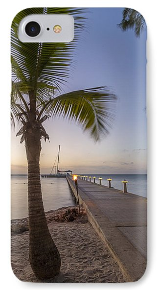 Rum Point Pier At Sunset IPhone Case by Adam Romanowicz