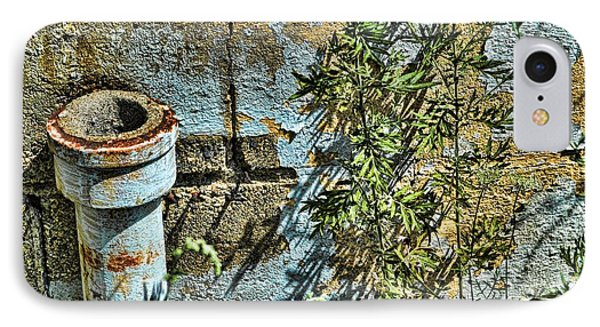 Rusted Pipe With Leaves IPhone Case by Mike McCool