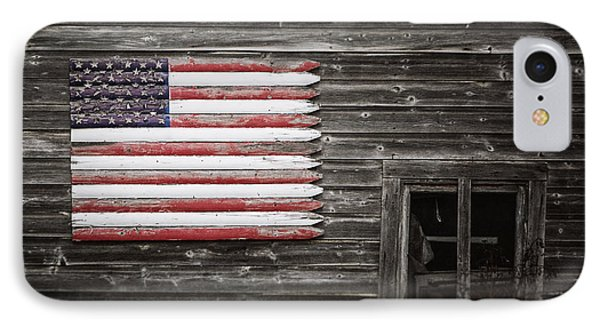 Rustic American Flag On A Weathered Grey Barn IPhone Case by Lisa Russo
