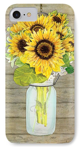 Rustic Country Sunflowers In Mason Jar IPhone 7 Case by Audrey Jeanne Roberts