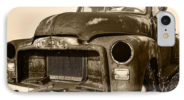 Rusty But Trusty Old Gmc Pickup Truck - Sepia Phone Case by Gordon Dean II