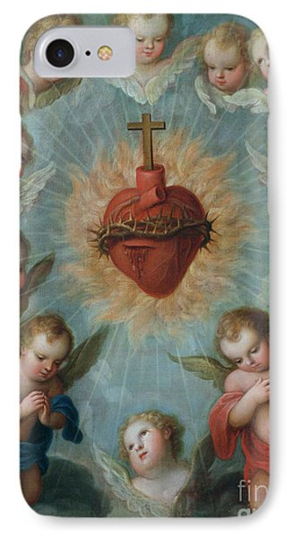 Sacred Heart Of Jesus Surrounded By Angels IPhone Case by Jose de Paez