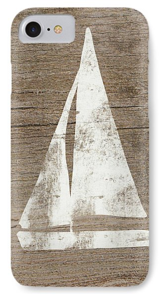 Sailboat On Wood- Art By Linda Woods IPhone Case by Linda Woods