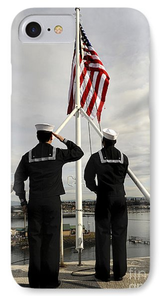 Sailors Raise The National Ensign IPhone Case by Stocktrek Images