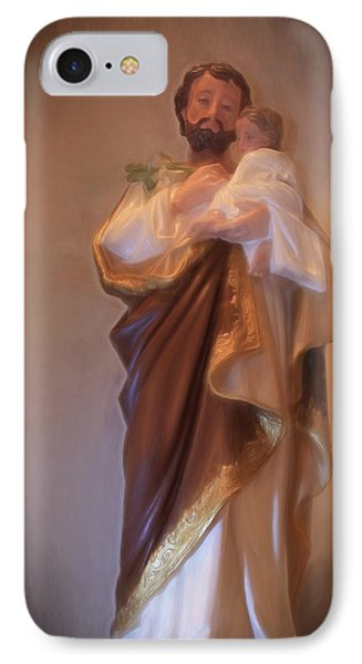 Saint Joseph Holding Baby Jesus IPhone Case by Donna Kennedy