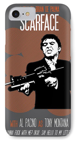 Scarface Poster Tony Montana Print Quote - Say Hello To My Little Friend IPhone Case by Beautify My Walls