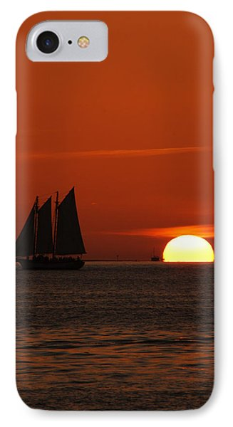 Schooner In Red Sunset Phone Case by Susanne Van Hulst