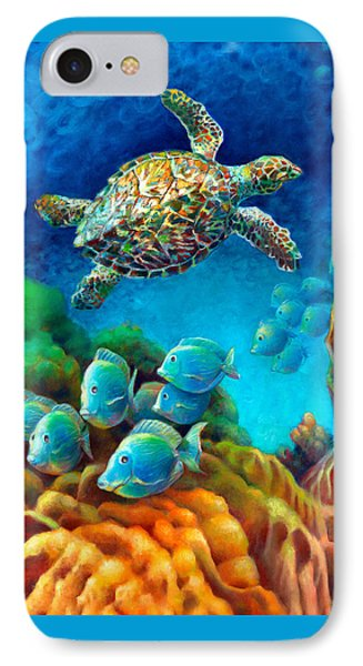 Sea Escape IIi - Gemstone Hawksbill Turtle IPhone Case by Nancy Tilles