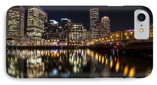 Seaport Bridge Boston Skyline Reflection Boston Ma IPhone Case by Toby McGuire