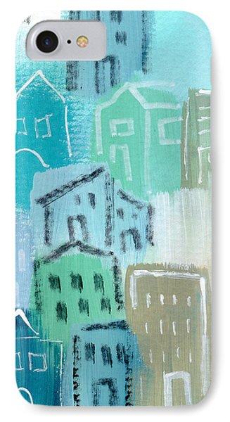 Seaside City- Art By Linda Woods IPhone Case by Linda Woods