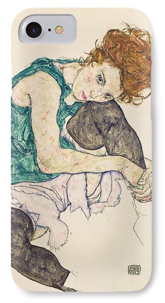 Seated Woman With Bent Knee IPhone Case by Egon Schiele