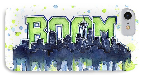 Seattle 12th Man Legion Of Boom Watercolor IPhone Case by Olga Shvartsur