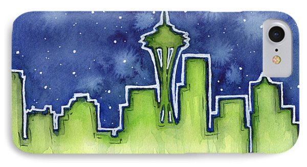 Seattle Night Sky Watercolor IPhone Case by Olga Shvartsur