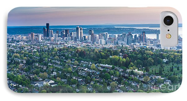 Seattle Skyline Aerial Above Capitol Hill IPhone Case by Mike Reid