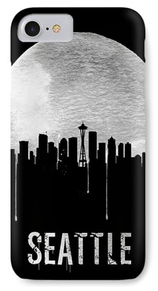 Seattle Skyline Black IPhone Case by Naxart Studio