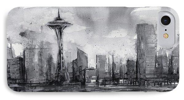 Seattle Skyline Painting Watercolor  IPhone 7 Case by Olga Shvartsur
