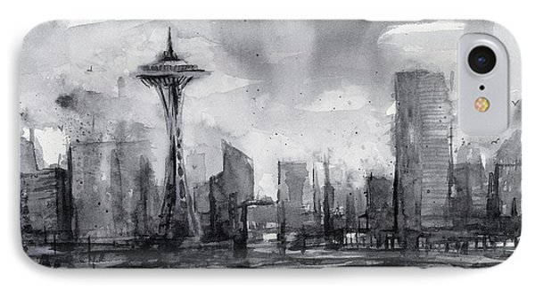 Seattle Skyline Painting Watercolor  IPhone Case by Olga Shvartsur
