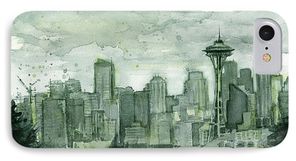 Seattle Skyline Watercolor Space Needle IPhone Case by Olga Shvartsur