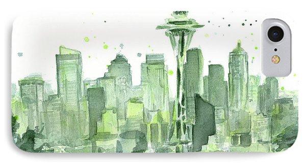 Seattle Watercolor IPhone Case by Olga Shvartsur