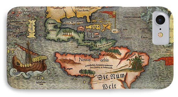 Sebastian Munster's Map Of The New World First Published In 1540 A.d. IPhone Case by L Brown