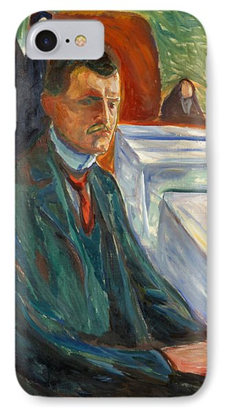 Self-portrait With A Bottle Of Wine IPhone Case by Edvard Munch