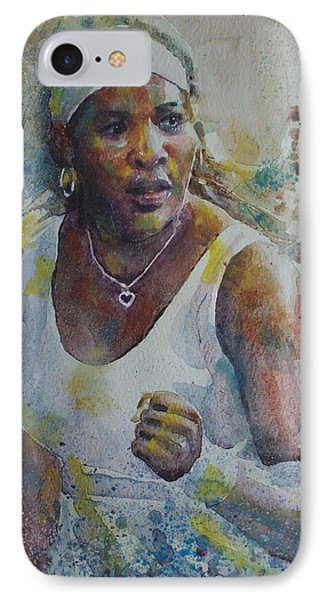 Serena Williams - Portrait 5 IPhone Case by Baresh Kebar - Kibar