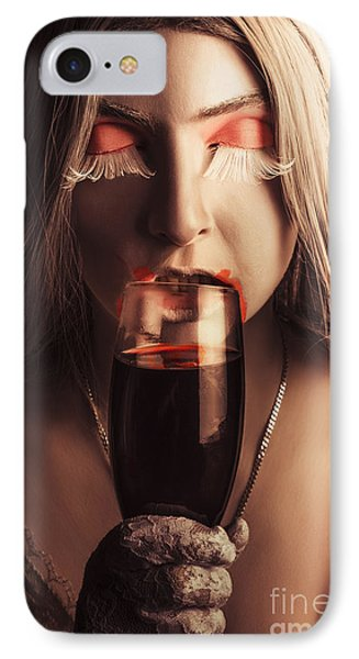Sexy Vampire Girl With Holding Glass Of Blood IPhone Case by Jorgo Photography - Wall Art Gallery