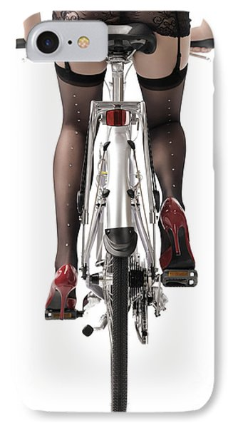 Sexy Woman Riding A Bike IPhone Case by Oleksiy Maksymenko