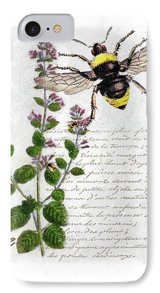 Shabby Chic Thyme Herb Bumble Bee Botanical Illustration IPhone Case by Tina Lavoie