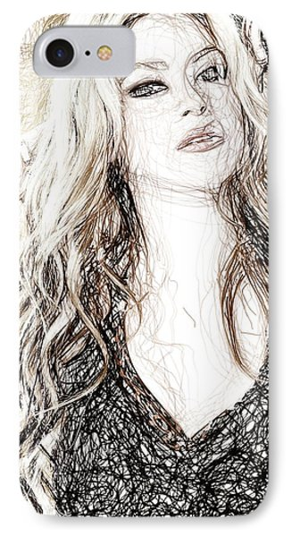 Shakira - Pencil Art IPhone Case by Raina Shah