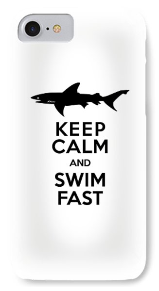 Sharks Keep Calm And Swim Fast IPhone 7 Case by Antique Images