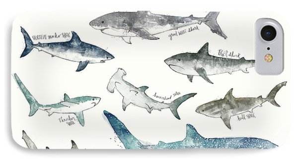 Sharks - Landscape Format IPhone 7 Case by Amy Hamilton