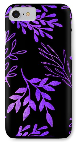 Shimmering Purple Leaves Nature Pattern IPhone Case by Tina Lavoie