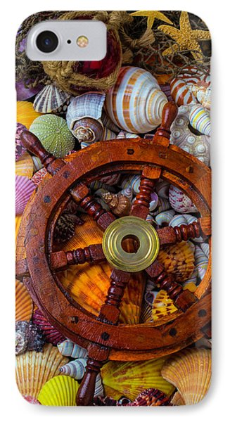 Ships Wheel Among Seashells IPhone Case by Garry Gay