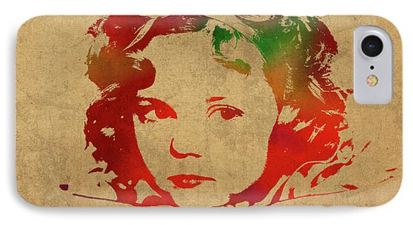 Shirley Temple Watercolor Portrait IPhone 7 Case by Design Turnpike