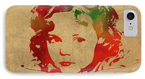 Shirley Temple Watercolor Portrait IPhone Case by Design Turnpike