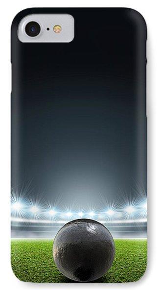 Shotput Ball In Generic Floodlit Stadium IPhone Case by Allan Swart