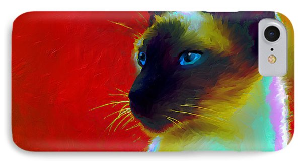 Siamese Cat 10 Painting IPhone Case by Svetlana Novikova