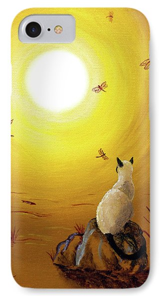 Siamese Cat With Red Dragonflies IPhone 7 Case by Laura Iverson