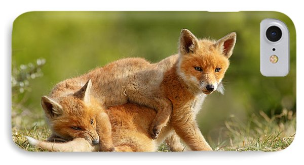 Sibbling Love - Playing Fox Cubs IPhone Case by Roeselien Raimond