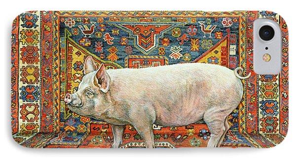 Singleton Carpet Pig IPhone Case by Ditz