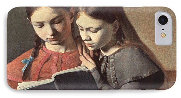Sisters Reading A Book Phone Case by Carl Hansen