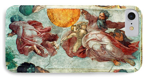 Sistine Chapel Ceiling Creation Of The Sun And Moon IPhone Case by Michelangelo