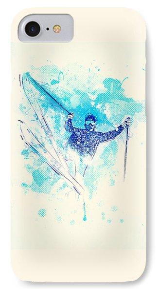Skiing Down The Hill IPhone Case by Bekare Creative