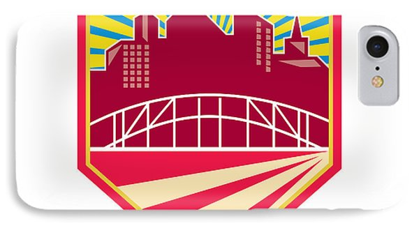 Skyscrapers And Bridge Retro Crest IPhone Case by Aloysius Patrimonio