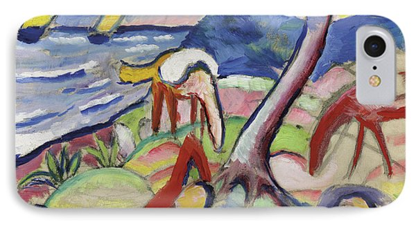 Sleeping Riders IPhone Case by August Macke